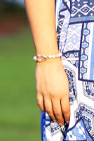 Crystal & Semi Precious Beads Stretch Bracelet - Peach