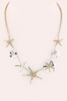 Metal Starfish & Sand Dollar Statement Necklace - 2 Tone