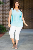 Go With The Flow Fringed Tank Top - Aqua