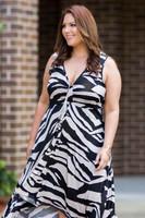 Summer Breeze V-Neck Long Flowy Dress - Animal Print