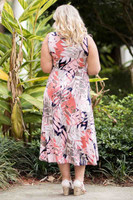Summer Breeze V-Neck Long Flowy Dress - Soft Layered Leaves Print