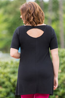 No More Plain Jane Short Sleeve Top - Black