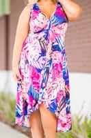 Summer Breeze V-Neck Long Flowy Dress - Pink Scattered Leaves Print