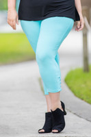 Easy as 1, 2, 3, 4-Button Leggings - Aqua