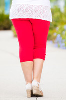 Easy as 1, 2, 3, 4-Button Leggings - Bright Red