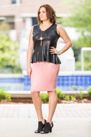 Fashionista Short Skirt - Faux Leather Rosa