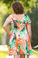 Better Than Ordinary Blouson Dress - Sunrise Leaves Print