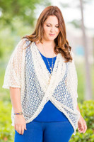Butterfly Kisses Crochet Poncho - Creme