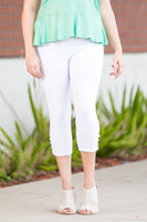 Easy as 1, 2, 3, 4-Button Leggings - White