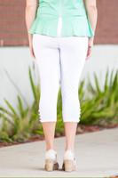 Easy as 1, 2, 3, 4-Button Leggings - White