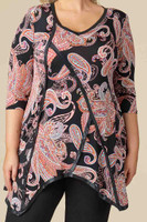 Day into Evening Tunic - Peach Paisley