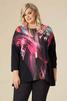 EASY BREEZY DROP SHOULDER TUNIC - PINK LIGHTS PRINT