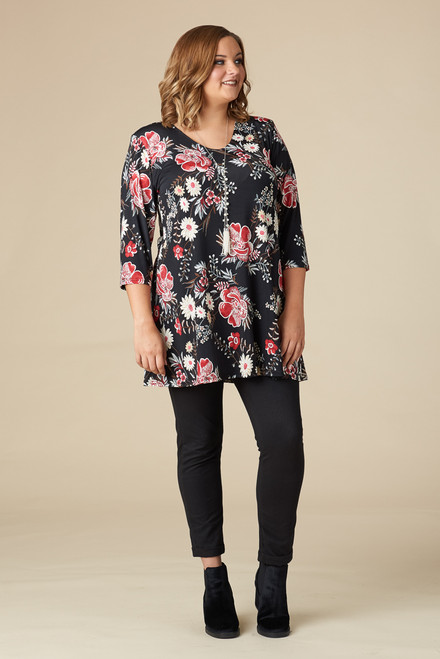 Beautifully Simple Tunic - Red Floral Print