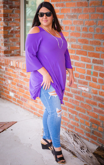 Coldest Shoulder Tunic - Light Purple
