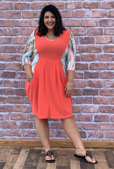 Go Figure Dress- Coral