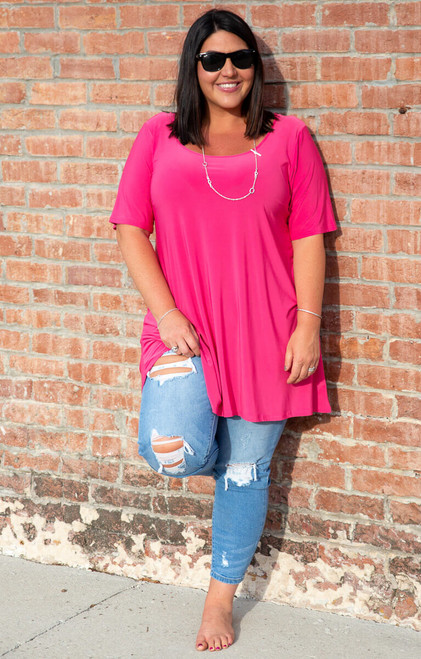 No More Plain Jane Tunic- Fushcia