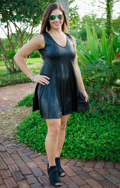 Feel The Beat Dress - Faux Leather Black