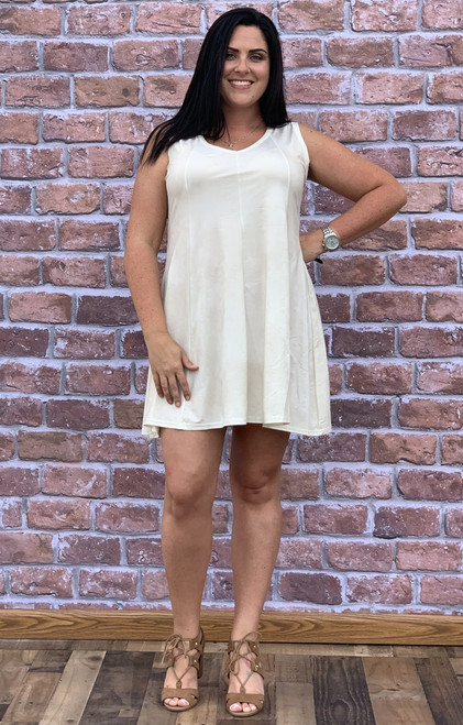Feel The Beat Dress - Faux Leather Creme