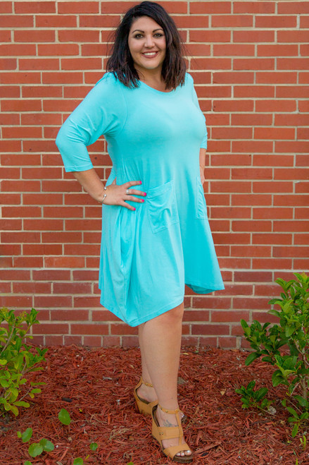 Get Noticed Dress-Aqua