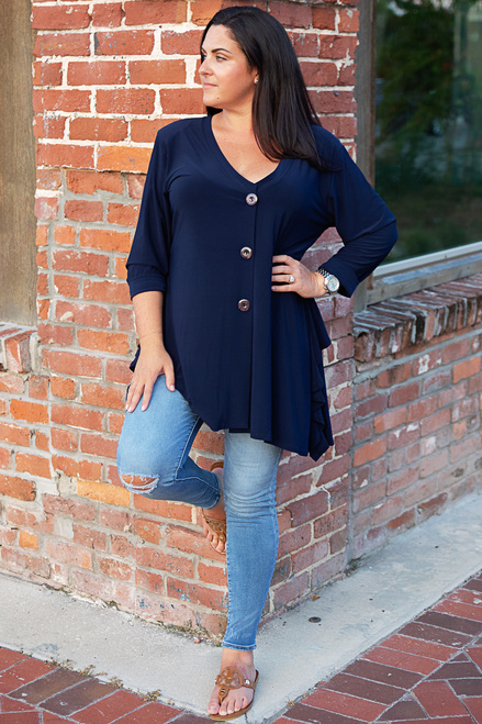 No More Questions Tunic- Navy