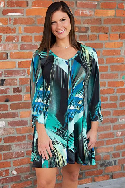 Off the Cuff Dress - Print Green