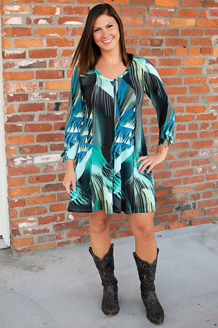 Off the Cuff Dress - Print Green
