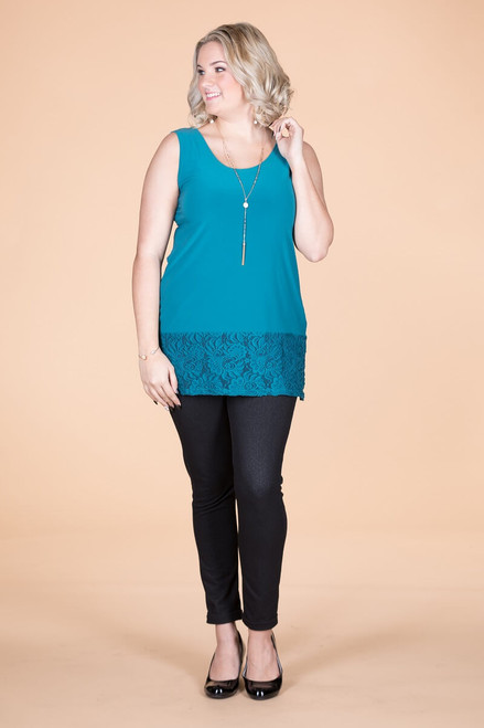 Every Day Lace Trimmed Tank - Petrol