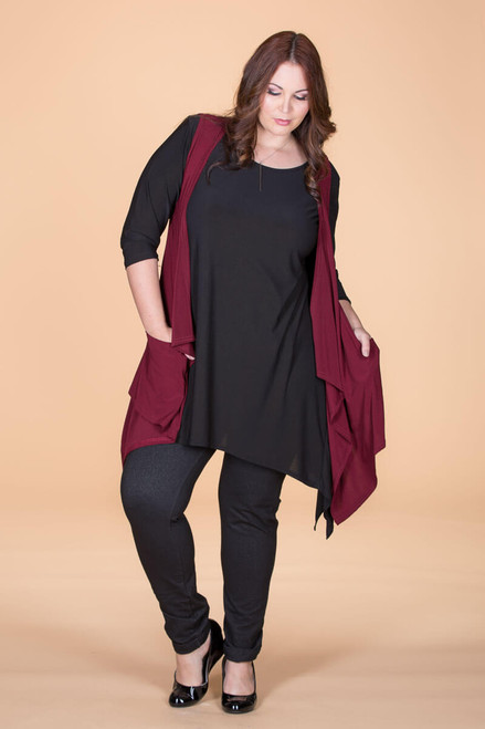 Effortless Open Front Vest - Wine
