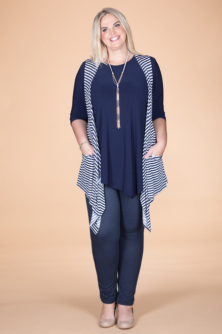 Effortless Open Front Vest - Nautical Stripes