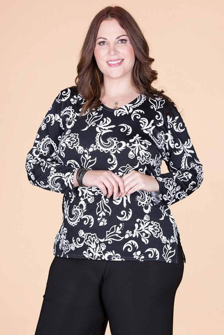 At Your Leisure Side Slit Top - Black Embossed Floral Print
