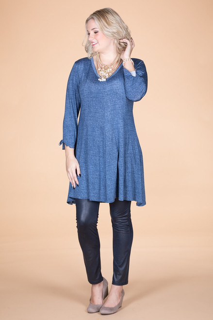 Off the Cuff Tunic - Blue Denim Print