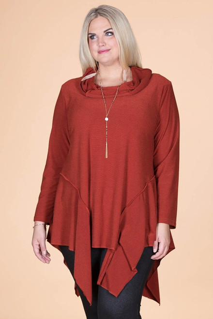 Coffee Break CowlNeck Tunic - Rust