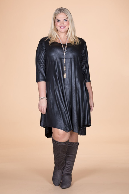 Out For the Night Party Dress - Black Faux Leather