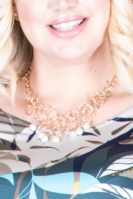 Pearl Drop Fashion Necklace - Gold
