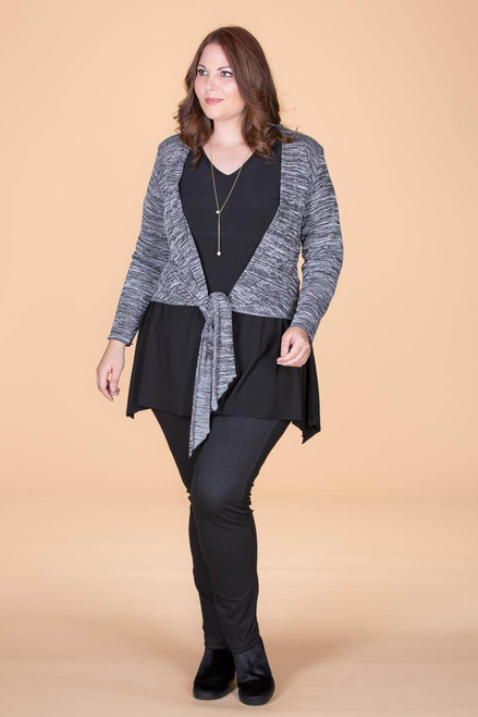 Shakespearean Bolero Jacket - Mixed Grey Print