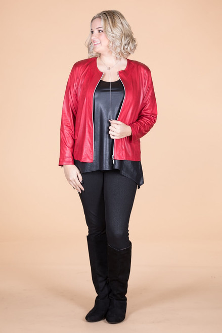 Get the Edge Seamed Moto Jacket -  Red Faux Leather