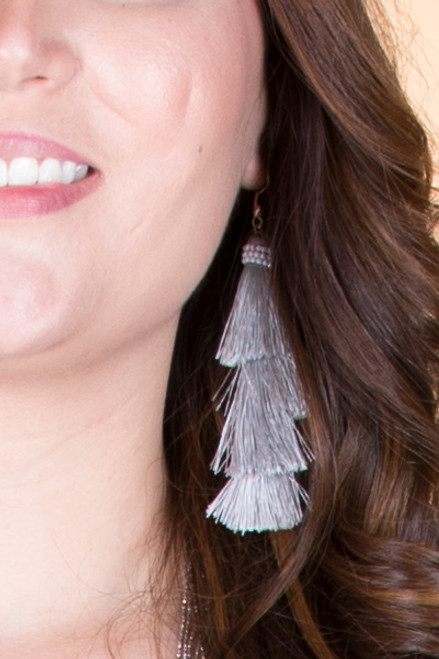 Layered Tassel Earrings ƒ?? Grey