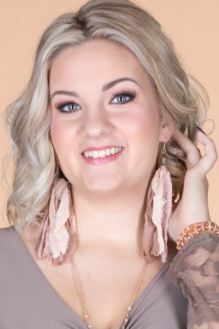 Jumbo Fabric Tassel Earrings ƒ?? Beige