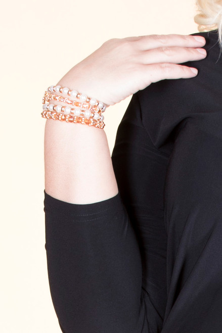 Mixed Charm Bead Stretch Bracelet Set - Brown