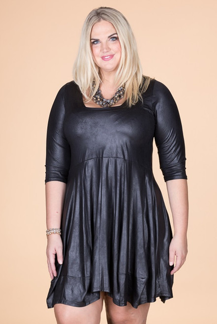 Swing Out Sister Dress - Black Faux Leather