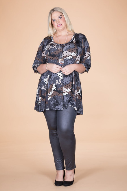Off the Cuff Tunic - Grey Spotted Camo