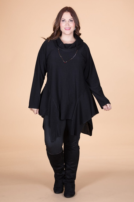 Coffee Break CowlNeck Tunic - Black