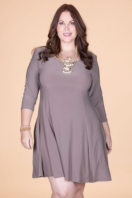 Work Hard, Play Hard Dress - Taupe