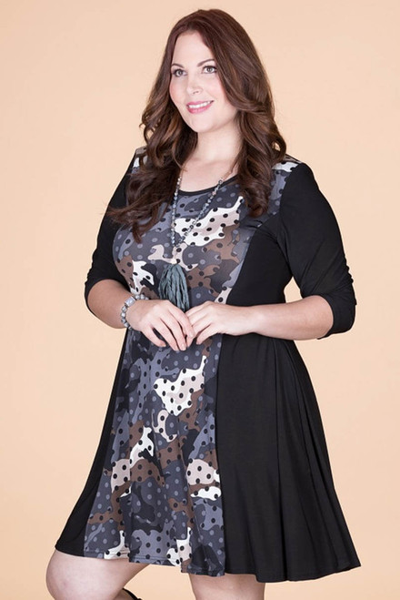 Keynote Speaker Dress - Grey Spotted Camo Print
