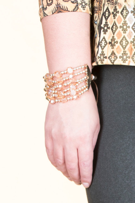 Layer String Drawstring Bracelet - Topaz