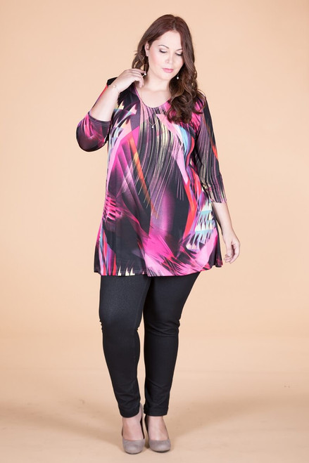Beautifully Simple Tunic - Pink Lights Print