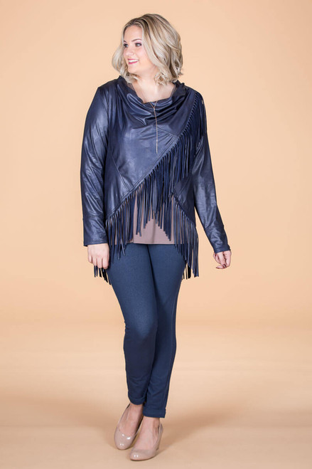 Ready to Take on Anything Fringed Jacket - Blue