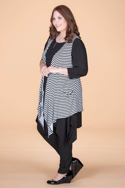 Effortless Open Front Vest - B&W Stripes