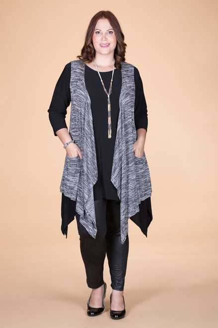 Effortless Open Front Vest - Mixed Grey Print