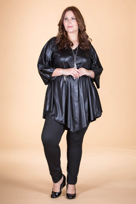 Girls Just Want to Have Fun Modern Top - Black Faux Leather